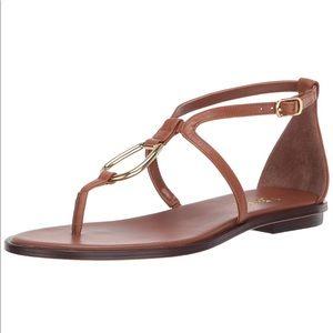 NWOT Ralph Lauren Tan Leather Flat Sandals